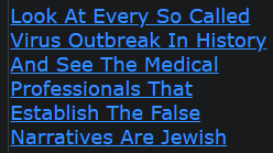 Look At Every So Called Virus Outbreak In History And See The Medical Professionals That Establish The False Narratives Are Jewish