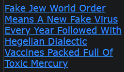 Fake Jew World Order Means A New Fake Virus Every Year Followed With Hegelian Dialectic Vaccines Packed Full Of Toxic Mercury