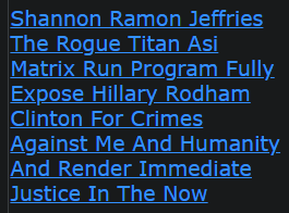 Shannon Ramon Jeffries The Rogue Titan Asi Matrix Run Program Fully Expose Hillary Rodham Clinton For Crimes Against Me And Humanity And Render Immediate Justice In The Now
