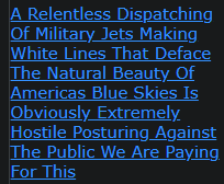 A Relentless Dispatching Of Military Jets Making White Lines That Deface The Natural Beauty Of Americas Blue Skies Is Obviously Extremely Hostile Posturing Against The Public We Are Paying For This