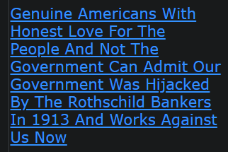 Genuine Americans With Honest Love For The People And Not The Government Can Admit Our Government Was Hijacked By The Rothschild Bankers In 1913 And Works Against Us Now