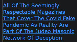 All Of The Seemingly Respectable Magazines That Cover The Covid Fake Pandemic As Reality Are Part Of The Judeo Masonic Network Of Deception