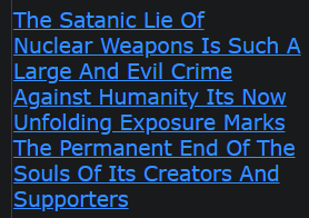 The Satanic Lie Of Nuclear Weapons Is Such A Large And Evil Crime Against Humanity Its Now Unfolding Exposure Marks The Permanent End Of The Souls Of Its Creators And Supporters