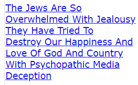The (FAKE) Jews Are So Overwhelmed With Jealousy They Have Tried To Destroy Our Happiness And Love Of God And Country With Psychopathic Media Deception