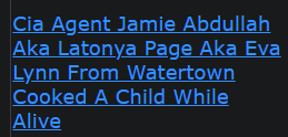 Cia Agent Jamie Abdullah Aka Latonya Page Aka Eva Lynn From Watertown Cooked A Child While Alive