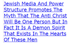 Jewish Media And Power Structure Promotes The Myth That The Anti Christ Will Be One Person