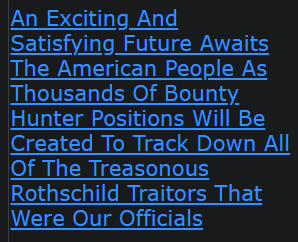 An Exciting And Satisfying Future Awaits The American People As Thousands Of Bounty Hunter Positions Will Be Created To Track Down All Of The Treasonous Rothschild Traitors That Were Our Officials