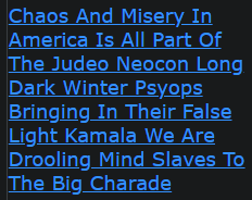 Chaos And Misery In America Is All Part Of The Judeo Neocon Long Dark Winter Psyops Bringing In Their False Light Kamala We Are Drooling Mind Slaves To The Big Charade