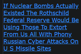 If Nuclear Bombs Actually Existed The Rothschild Federal Reserve Would Be Using Those To Extort From Us All With Phony Russian Cyber Attacks On U S Missile Sites