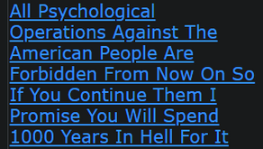 All Psychological Operations Against The American People Are Forbidden From Now On
