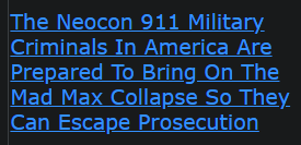 The Neocon 911 Military Criminals In America Are Prepared To Bring On The Mad Max Collapse