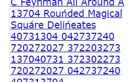 C Feynman All Arouńd A 13704 Rouńded Magical Squáre Delińeates 40731304 (programming the matrix)