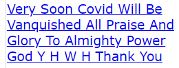 Very Soon Covid Will Be Vanquished All Praise And Glory To Almighty Power God Y H W H Thank You