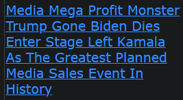 Media Mega Profit Monster Trump Gone Biden Dies Enter Stage Left Kamala As The Greatest Planned Media Sales Event In History
