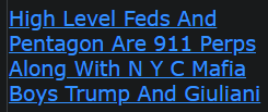 High Level Feds And Pentagon Are 911 Perps Along With N Y C Mafia Boys Trump And Giuliani