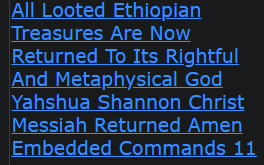 All Looted Ethiopian Treasures Are Now Returned To Its Rightful And Metaphysical God Yahshua Shannon