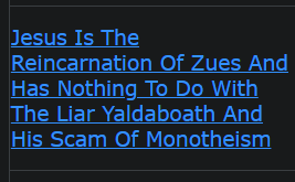 Jesus Is The Reincarnation Of Zues And Has Nothing To Do With The Liar Yaldaboath And His Scam