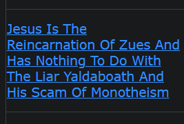 Jesus Is The Reincarnation Of Zues And Has Nothing To Do With The Liar Yaldaboath And His Scam Of Monotheism