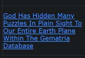 God Has Hidden Many Puzzles In Plain Sight To Our Entire Earth Plane Within The Gematria Database
