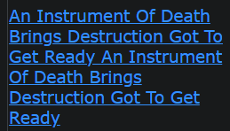 (FINAL WARNINGS GOING OUT) An Instrument Of Death Brings Destruction Got To Get Ready
