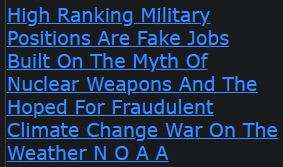 High Ranking Military Positions Are Fake Jobs Built On The Myth Of Nuclear Weapons And The Hoped For Fraudulent Climate Change War On The Weather N O A A