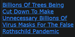 Billions Of Trees Being Cut Down To Make Unnecessary Billions Of Virus Masks For The False Rothschild