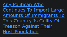 Any Politician Who Continues To Import Large Amounts Of Immigrants To This Country Is Guilty