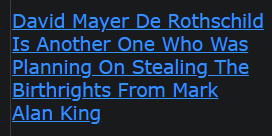 David Mayer De Rothschild Is Another One Who Was Planning On Stealing The Birthrights From Mark Alan King