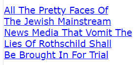 All The Pretty Faces Of The Jewish Mainstream News Media That Vomit The Lies Of Rothschild Shall Be Brought In For Trial