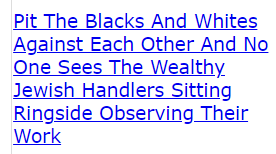 Pit The Blacks And Whites Against Each Other And No One Sees The Wealthy Jewish Handlers Sitting Ringside Observing Their Work