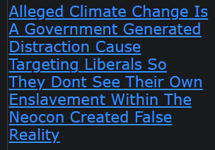 Alleged Climate Change Is A Government Generated Distraction Cause Targeting Liberals So They Dont See Their Own Enslavement Within The Neocon Created False Reality
