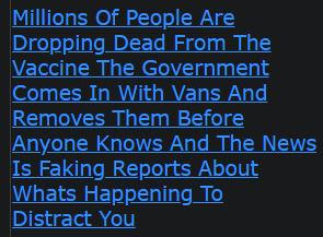 Millions Of People Are Dropping Dead From The Vaccine The Government Comes In With Vans And Removes Them Before Anyone Knows And The News Is Faking Reports About Whats Happening To Distract You (HAS ANONONE SEEN OR HEARD ABOUT ANY OF THIS?)