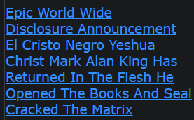 Epic World Wide Disclosure Announcement El Cristo Negro Yeshua Christ Mark Alan King Has Returned In The Flesh He (WITH ALMIGHTY POWER YHWH) Opened The Books And Seal Cracked The Matrix