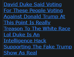 David Duke Said Voting For These People Voting Against Donald Trump At This Point Is Really Treason To The White Race Lol Duke Is An Intelligence Hack Supporting The Fake Trump Show As Real