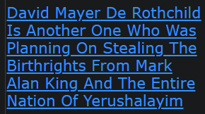 David Mayer De Rothchild Is Another One Who Was Planning On Stealing The Birthrights From Mark Alan King And The Entire Nation Of Yerushalayim