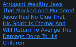 Arrogant Wealthy Jews That Mocked And Murdered Jesus Had No Clue That His Spirit Is Eternal And Will Return To Avenge The Damage Done To His Children