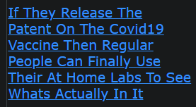 If They Release The Patent On The Covid19 Vaccine Then Regular People Can Finally Use Their At Home Labs To See Whats Actually In It