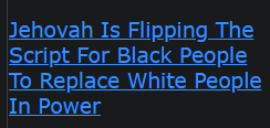 Jehovah Is Flipping The Script For Black People To Replace White People In Power