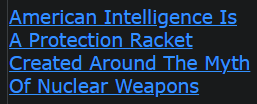 American Intelligence Is A Protection Racket Created Around The Myth Of Nuclear Weapons