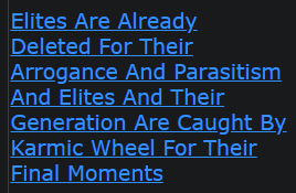 (These devils actually thought they were above GOD Almighty laws) Elites Are Already Deleted For Their Arrogance And Parasitism And Elites And Their Generation Are Caught By Karmic Wheel For Their Final Moments