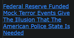 Federal Reserve Funded Mock Terror Events Give The Illusion That The American Police State Is Needed