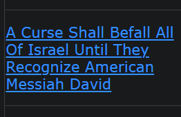 A Curse Shall Befall All Of Israel Until They Recognize American Messiah David