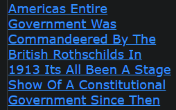 Americas Entire Government Was Commandeered By The British Rothschilds In 1913 Its All Been A Stage Show Of A Constitutional Government Since Then