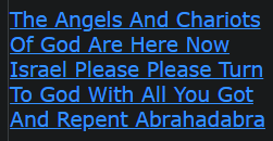 The Angels And Chariots Of God Are Here Now Israel Please Please Turn To God With All You Got And Repent Abrahadabra (WE HAVE GAVE MANY WARNINGS WE ARE IN THE LAST DAYS OF THIS CYCLE !!)