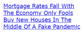 Mortgage Rates Fall With The Economy Only Fools Buy New Houses In The Middle Of A Fake Pandemic