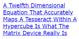 A Twelfth Dimensional Equation That Accurately Maps A Tesseract Within A Hypercube