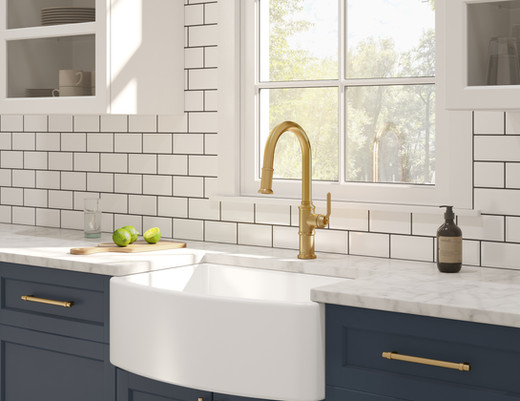 Kinzie Pull-Down Kitchen Faucet in Brush