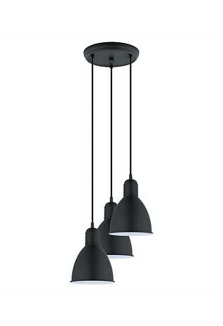 3-Light Black Pendant Light