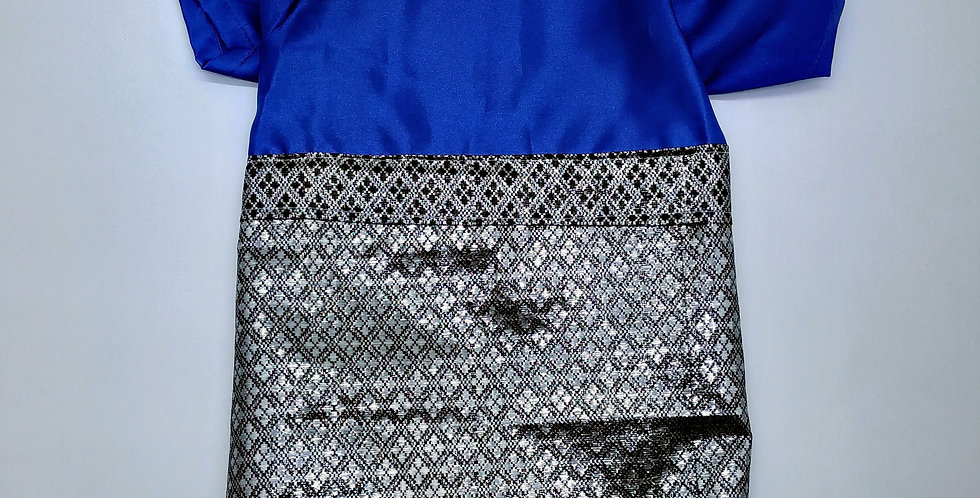 Blue Cekak Musang with Silver Songket Size M