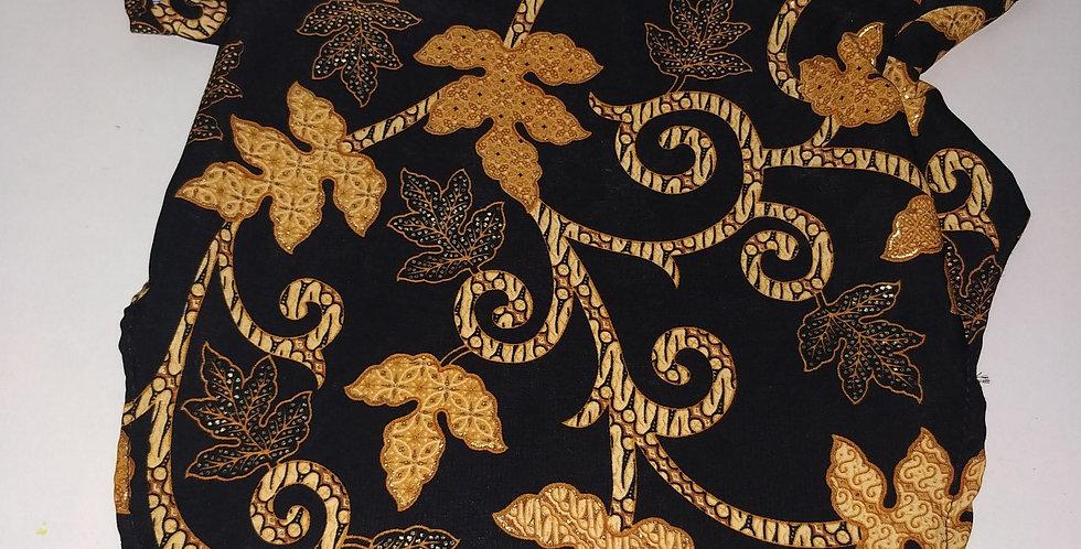 Black and Gold Batik Size S